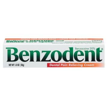 Benzodent Denture Pain Relieving Cream, Benzocaine 20%, 1 oz