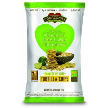 Corazonas Squeeze of Lime Whole Grain Tortilla Chips, 1.5-Ounce (Pack of 24)
