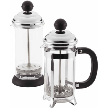 BonJour Coffee 3-Cup Bijoux French Press and 2-Cup Frother Set, Black