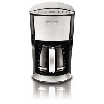 Krups KRUPS 12-Cup Programmable Glass Filter Coffee Maker, Stainless Steel