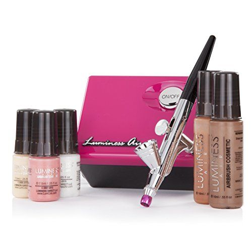 Luminess Air Pink & Black Legend Airbrush System with 5 Piece Deluxe Airbrush Foundation & Cosmetic Starter Kit