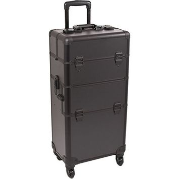 Sunrise 2 in 1 Aluminum 4 Wheels Rolling Hair Stylist Makeup Artist Case w/ 3 Sliding Trays Dividers