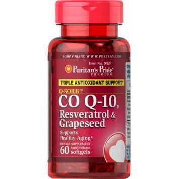 Puritan's Pride Q-SORB Co Q-10, Resveratrol & Grapeseed-60 Rapid Release Softgels