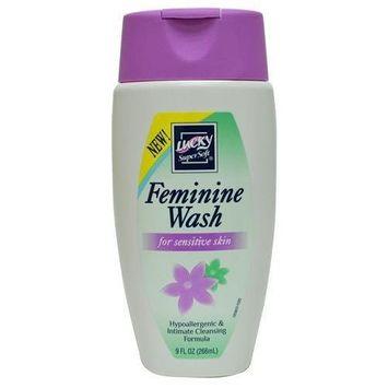 Lucky Super Soft FEMININE WASH for Sensitive Skin, HypoAllergenic & Intimate Cleansing Formula, 9 Fl Oz