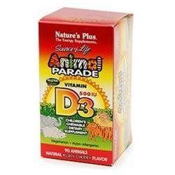 Nature's Plus - Animal Parade Vitamin D3 Black Cherry - 90 Chewable Tablets