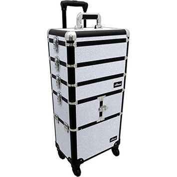 Sunrise I3364 Professional 4-in-1 Rolling Makeup Artist Cosmetic Train Case Organizer Storage