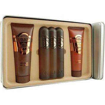 Cubano Copper By Cubano For Men. Set- Eau De Toilette Spray 4.0 0z & Shower Gel 4 oz & Aftershave Balm 4 oz