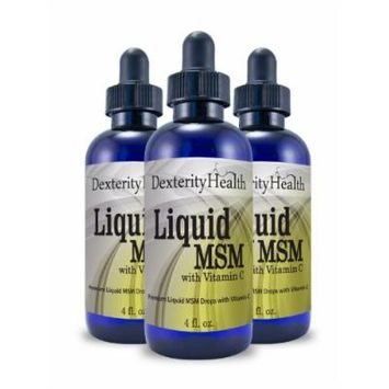 Liquid MSM Drops with Vitamin C, 4 Ounce Bottles, 3-Pack, Sterile MSM Eye Drops wtih Organic Ingredients, Dropper-Top Bottles