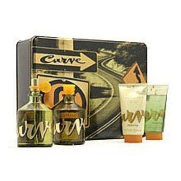 Curve By Liz Claiborne For Men. Gift Set ( Cologne Spray 4.2 Oz + Aftershave 4.2 Oz + Skin Soother 2.5 Oz + Hair & Body Wash 2.5 Oz).