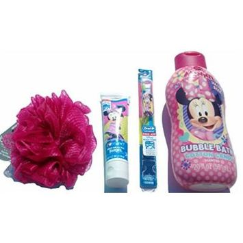 Minnie Bubble Bath Gift Set for Kids. Comes with 20 Fl Oz Minnie Mouse Bubble Bath + Minnie Mouse Tooth Paste + Minnie Mouse Tooth Brush + a Complimentary Jumbo Bath Body Wash Sponge (4 Pcs)