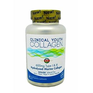 KAL Clinical Youth Collagen 600 Mg Type I & III 60 Vegetable Capsules