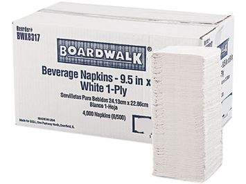 Boardwalk BWK 8317 Beverage Napkins - White