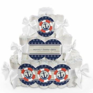 Baby Diaper Cake - Ahoy Nautical - 3 Tier