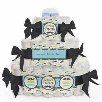 Baby Diaper Cake - Dashing Little Man Mustache - 3 Tier