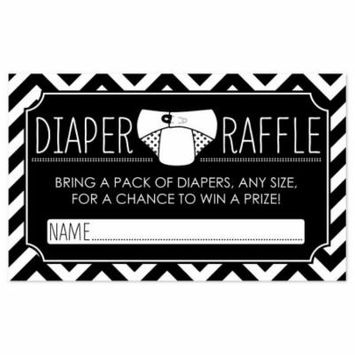 Diaper Raffle Baby Shower Game in Black and White - 18 Count