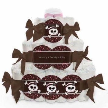 Baby Diaper Cake - Skullicious - Girl Skull - 3 Tier
