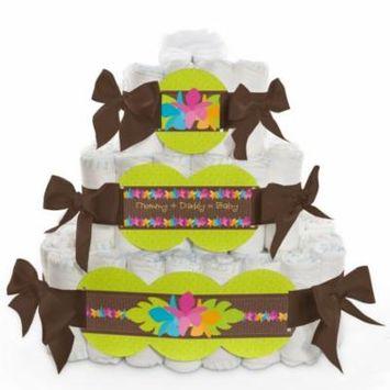Baby Diaper Cake - Luau - 3 Tier