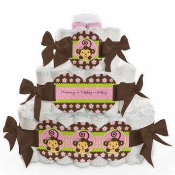 Baby Diaper Cake - Monkey Girl - 3 Tier