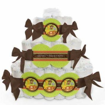 Baby Diaper Cake - Funfari - Fun Safari Jungle - 3 Tier
