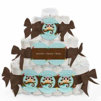 Baby Diaper Cake - Owl - 3 Tier