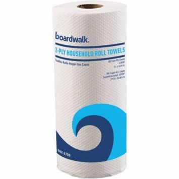 Boardwalk 2-Ply Household Roll Paper Towels, White, 60 sheets, 15 count