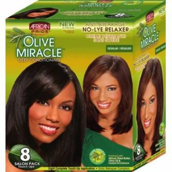 African Pride Olive Miracle Deep Conditioning No-Lye Relaxer - Regular Kit 8-Count (Pack of 4)
