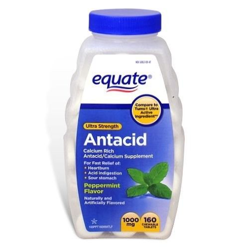 Equate - Antacid Tablets, Ultra Strength, 1000 mg, 160 Chewable Tablets, Peppermint Flavor