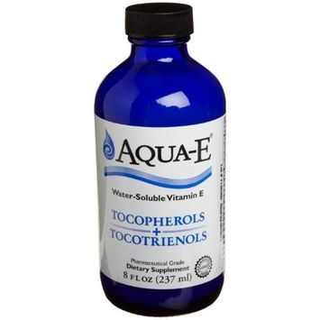 Aqua-E Water-Soluble Vitamin E; Tocopherols & Tocotrienols; 8 fl oz (237 ml) Glass Bottle