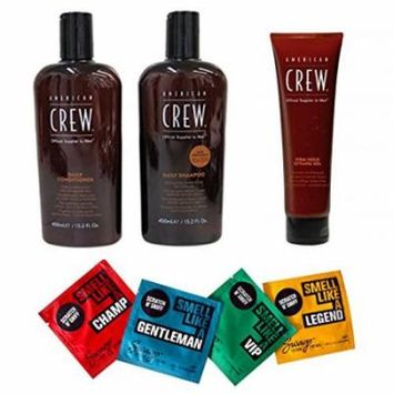 Bundle - 7 items: American Crew Daily Shampoo & Conditioner Duo, 15.2 oz & Firm Hold Styling Gel, 13.1 oz & Swago Wipes (4 pack)