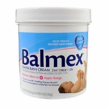 4 Pack - Balmex Diaper Rash Cream Jar - 16oz Each
