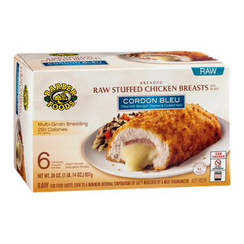 Barber Foods Breaded Raw Stuffed Chicken Breasts Cordon Bleu - 6 CT