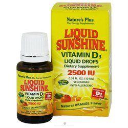Nature's Plus Liquid Sunshine Vitamin D3 2500IU, Orange, .34 fl oz