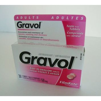 Easy to Swallow GRAVOL (30 tablets) Antinauseant for NAUSEA, VOMITING, DIZZINESS & MOTION SICKNESS