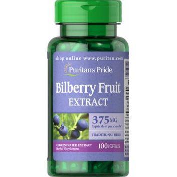 Puritan's Pride Bilberry 10:1 Extract 375 mg-100 Capsules