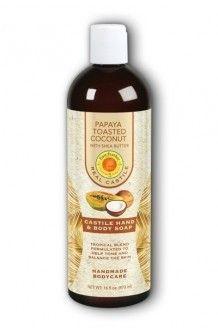 Papaya Toasted Coconut Liquid Castle Soap Sunfeather 16 oz Liquid