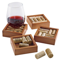 The Wine Enthusiast 4 Pc Wine Cork Coaster Kit - Walnut