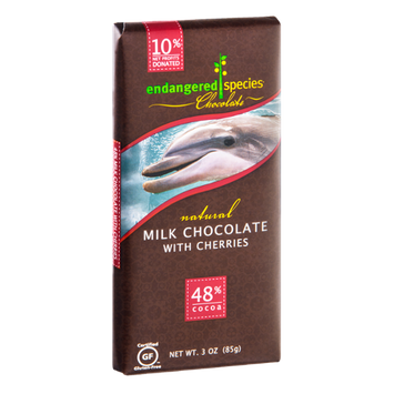Endangered Species Chocolate Milk Chocolate With Cherries Bar Natural - Dolphin