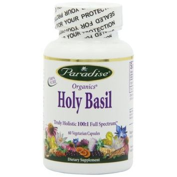 Paradise Herbs Holy Basil 12:1 2% Ursolic Acid Vegetarian Capsules, 60 Count