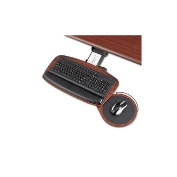 Safco Premier Series Keyboard Platform with Control Zone - Mahogany