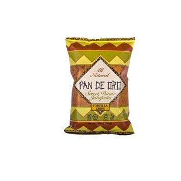 Pan De Oro Sweet Potato Jalapeno Tortilla Chips Case of 12 bags 6.5 oz per bag