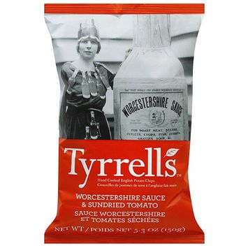 Twang Tyrrell's Worcestershire Sauce & Sundried Tomato Potato Chips, 5.3 oz, (Pack of 12)