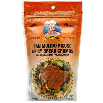 Chef Merito Spicy Bread Crumbs, 8 oz, (Pack of 12)