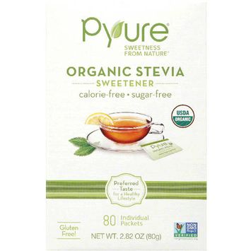 Pyure Organic Stevia Sweetener Packets, 80 count, 2.82 oz, (Pack of 6)
