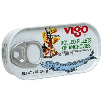 Vigo Rolled Fillets of Anchovies, 2 oz (Pack of 25)