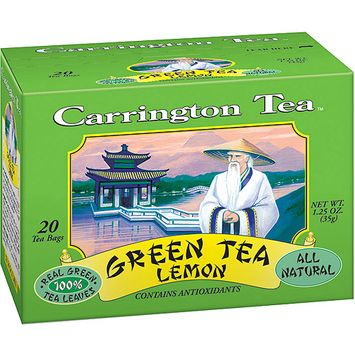 Carrington Tea Green Tea with Lemon Tea Bags, 20 count per box, 1.25 oz, Pack of 6