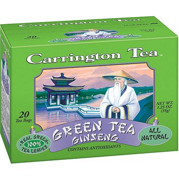 Carrington Tea Green Tea with Ginseng Tea Bags, 20 count per box, 1.25 oz, Pack of 6