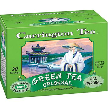 Carrington Tea Original Green Tea Bags, 20 count per box, 1.25 oz, Pack of 6