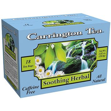 Carrington Tea Soothing Herbal Tea Bags, 18 count per box, 1.02 oz, Pack of 6