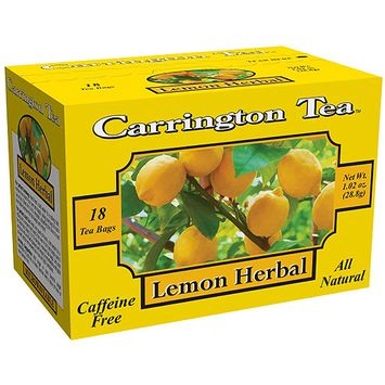 Carrington Tea Lemon Herbal Tea Bags, 18 count per box, 1.02 oz, Pack of 6