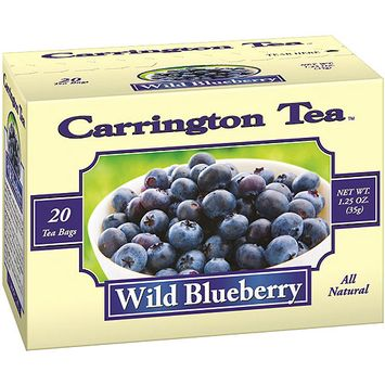 Carrington Tea Wild Blueberry Tea Bags, 20 count per box, 1.25 oz, Pack of 6